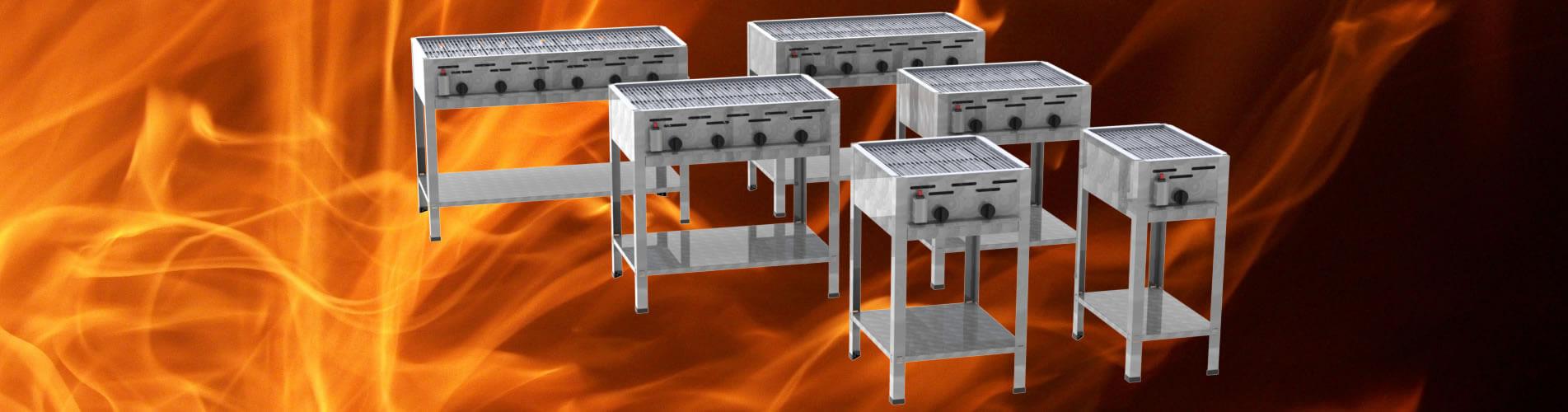 Stand-Gastrobräter mit Grill-Rost 1-flammig bis 6-flammig