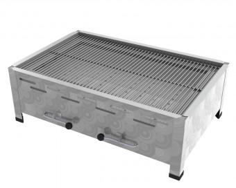 4er Tisch-Holzkohlebräter mit 3-fach verstellbarem Kohlekasten