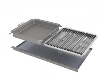 Kombi-Set 4-teilig Pfanne + V2A Rost Einzelstäbe + Flammabdeckung + Fettwanne für Gastrobräter 5-flammig