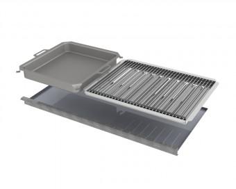 Kombi-Set 4-teilig Pfanne + V2A Rost Einzelstäbe + Flammabdeckung + Fettwanne für Gastrobräter 6-flammig
