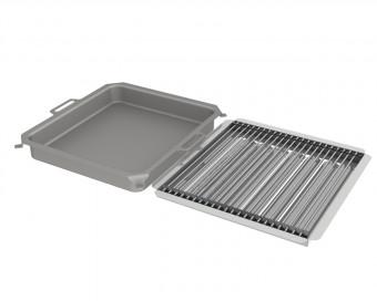 Kombi-Set 3-teilig Pfanne + V2A Rost Einzelstäbe + Flammabdeckung für Gastrobräter 5-flammig