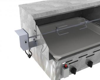 DROSS (KF) Gasbräter 3-flammig angetriebener Drehspieß und 220 Volt Getriebemotor