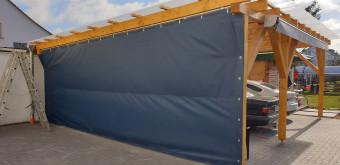 Carport Windschutz 6 x 3 aus PVC Plane geriffelt mit Ösen