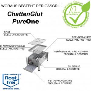 ChattenGlut PureOne Tisch-Gasgrill aus Edelstahl mit 4,5kW